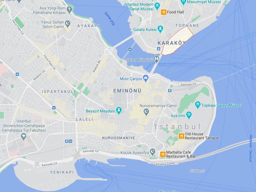 Karakoy Istanbul Karte Karte Von Karakoy Istanbul Turkei